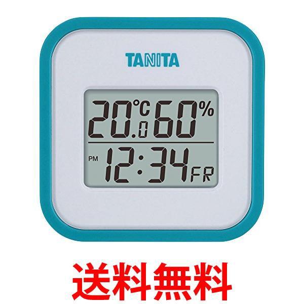 タニタ 温湿度計 TT-558 BL 温度 湿度 デジタル 壁掛け 時計付き 卓上 マグネット ブルー 送料無料