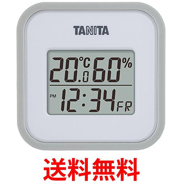 タニタ 温湿度計 TT-558 GY 温度 湿度 デジタル 壁掛け 時計付き 卓上 マグネット グレー 送料無料