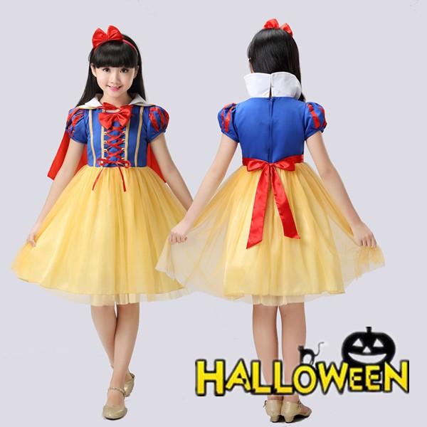 5点セット ハロウィン キッズ プリンセス 白雪姫 子供 Halloween コスチュームコスプレ パーティーグッズ 子供用 仮装 衣装 演出服