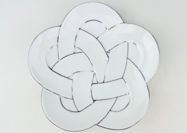 有田焼 白磁銘々皿 梅結び 太白プラチナ線