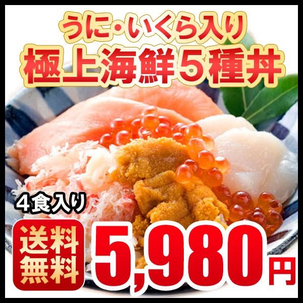 お歳暮 お年賀 海鮮 北海道直送 海鮮丼 5種 無添加うに 北海道産いくら 4食入 個包装 母の日 父の日 ギフト 送料無料