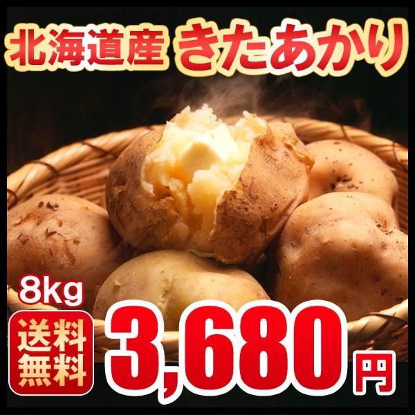じゃがいも 北海道産きたあかり 送料無料 混玉8kg 新じゃが 産地直送