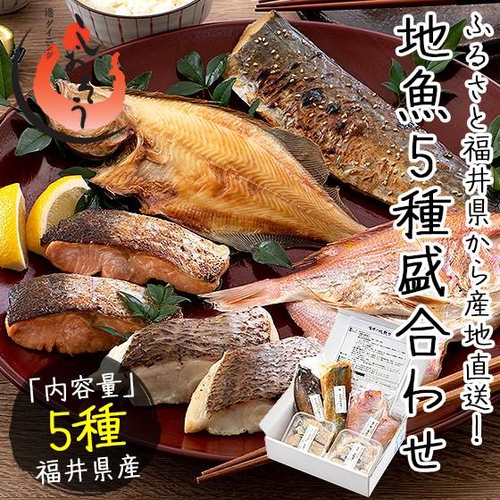 干物 漬け魚 福井の地魚 5種詰め合わせ 真鯛 鰆 サーモン 連子鯛 赤カレイ ギフト グルメ プレゼント [送料無料]