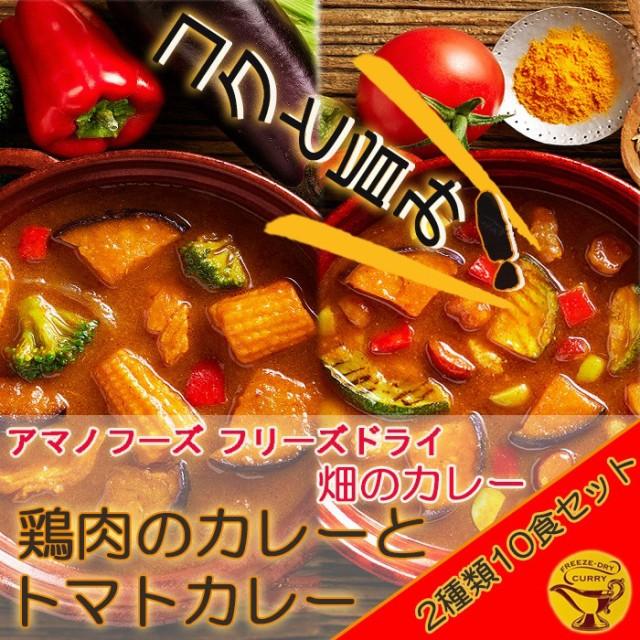 アマノフーズ フリーズドライ 畑のカレー鶏肉のカレーとトマトカレー2種類10食セット 即席(