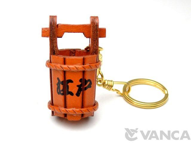 桶 江戸 日本 キーホルダー/レザー 本革 VANCA/バンカクラフト革物語 10534