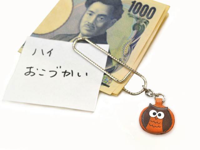 ふくろうチャーム/ペーパークリップ特大/レザー 本革 VANCA/バンカクラフト革物語 60041