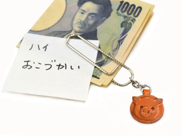 ぶたチャーム/ペーパークリップ特大/レザー 本革 VANCA/バンカクラフト革物語 60044