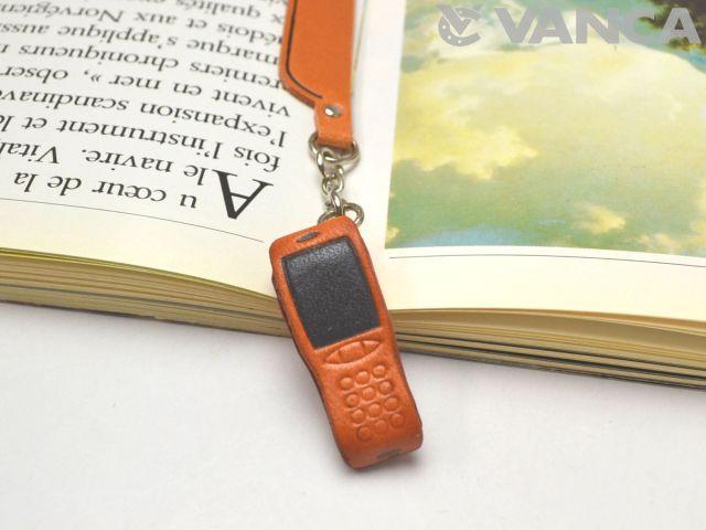 携帯電話 チャームブックマーカー/しおり/ーレザー 本革 VANCA/バンカクラフト革物語 60901