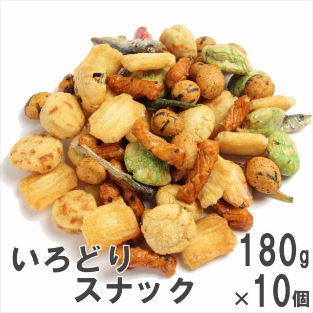 いろどりスナック180g×10 ケース販売 南風堂 豆菓子 あられ 小魚のミックス