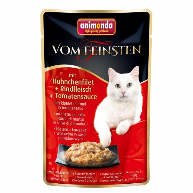 アニモンダ フォムファインステン パウチ アダルト チキンフィレ・牛肉・トマトソース 50g入り フレークタイプ 成猫用| cat visions