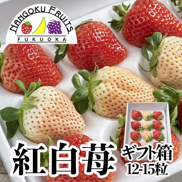 南国フルーツ・福岡産紅白いちごギフト箱(12〜15粒)
