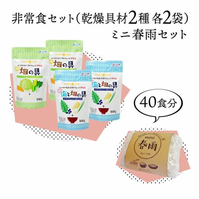 公式 通販限定 保存食セット「5種の彩り乾燥具材2種(各2袋)&ミニ春雨40個(10個×4袋)」セット割価格 送料無料 非常食 常備食 みそ汁の具