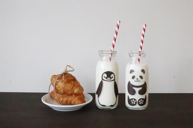 冷感ミルクボトル 牛乳スマイルグラス・丸モ高木陶器・ペアセット ガラス瓶 ジュース瓶ペア  牛乳瓶 ミルク瓶 ジュースグラス ボ