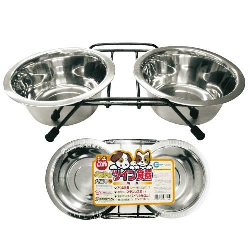 マルカン 犬用ステンレス ツイン食器犬猫用M わんぱくペット用 動物用