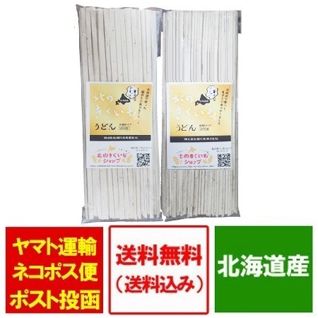 うどん 乾麺 送料無料 菊芋 パウダー 使用 北海道産 きくいも うどん 平麺 200 g・ 細麺 200g 各1袋 価格 1380円 饂飩 きくいも 菊芋うど