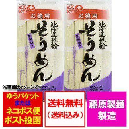 ソーメン 送料無料 乾麺 素麺 北海道 そうめん500 g ×2袋 価格 690円