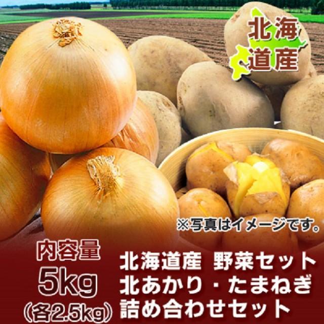 野菜セット 北海道産 じゃがいも きたあかり・玉ねぎ 5kg(各2.5kg)Lサイズ 価格 2580円 野菜 セット 送料無料 北あかり・たまねぎ