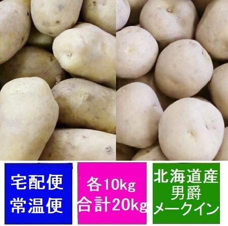 北海道 じゃがいも 男爵いも 10kg 送料無料 メークイン 10kg(合計20kg) 価格8360円 北海道産 ジャガイモ だんしゃくいも