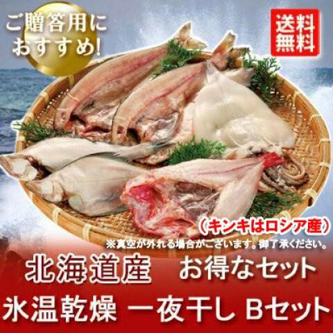 北海道 一夜干し 送料無料 氷温乾燥 一夜干し きんき/ほっけ/真いか/宗八かれい セット「いか 一夜干し」価格 8000 円 干物セット big_dr