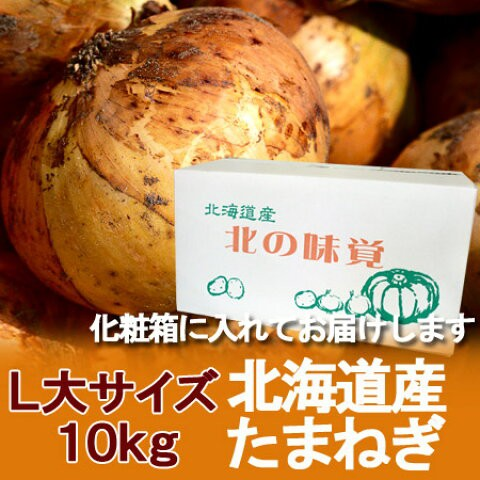 玉ねぎ 北海道 たまねぎ 送料無料 野菜 北海道産 玉ねぎ 10kg(L大 サイズ) 玉葱 箱 1ケース 価格 3240円 たまねぎ 化粧箱入