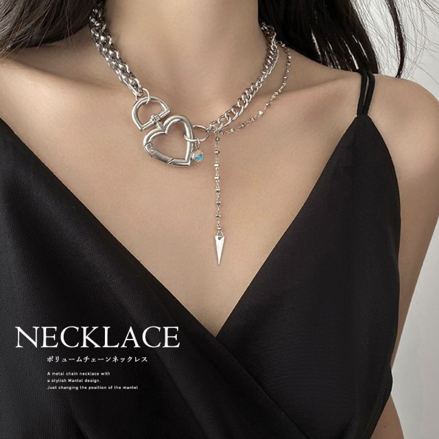 首飾り アクセサリー ハートチャーム チョーカー ネックレス ショートネックレス 原宿系 個性的 ジュエリー 即納