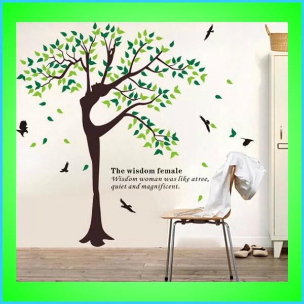ウォールステッカー 2枚セット 木 鳥 ツリー 植物 ステッカー 大きな木 おしゃれ トリックアート 北欧 葉 花 壁紙 文字 英文字 人 お得