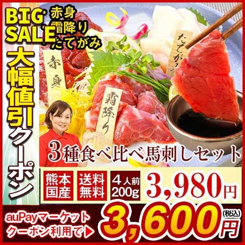 馬刺し お中元 ギフト 熊本 国産 霜降り 赤身 たてがみ 肉 送料無料 3種食べ比べ 約4人前 200g 赤身 中トロ たてがみ 馬刺 馬肉