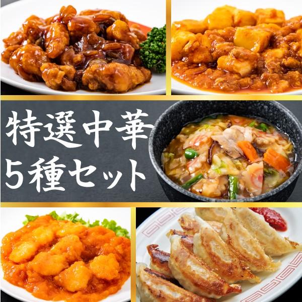 特選中華5種セット エビチリ 麻婆豆腐 酢豚 中華丼2食 イベリコ黒豚餃子10粒 送料無料