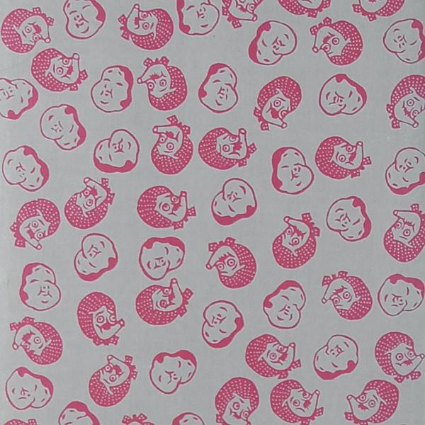 【てぬぐい】高級ブランド手ぬぐいの源氏手拭 おかめひょっとこ グレー ピンク 海外へのお土産 ギフト【メール便対応】