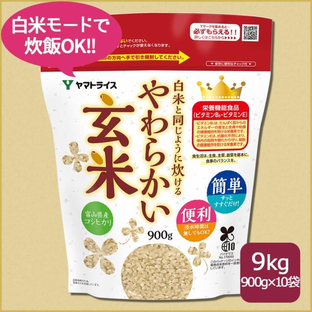 お米 米 白米と同じように炊けるやわらかい玄米 900g×10袋 令和2年産 北海道・沖縄は送料900円