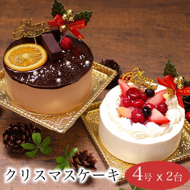 クリスマスケーキ 誕生日ケーキ 子供 女性 苺 チョコ / デュエット チョコ 苺 ショートケーキ 4号 2台セット 6-8人前