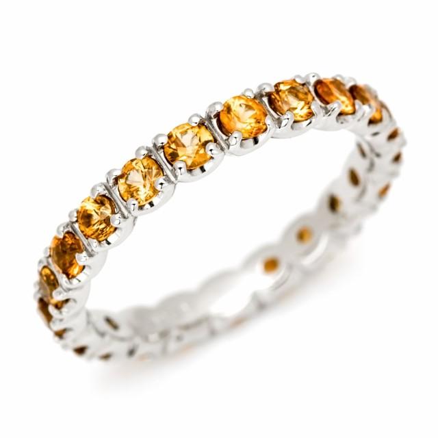 フルエタニティーリング オレンジサファイア ゴールド K18 送料無料 18K 18金 9月誕生石 プレゼント 天然石