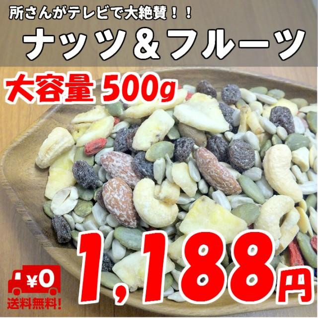 ナッツ&フルーツ 500g チャック付き袋 ドライフルーツ ミックスナッツ 種 健康菓集 一榮食品 メール便発送送料無料
