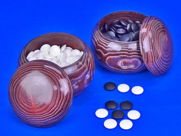 蛤碁石 25号 実用(厚み7.0mm)(木製栗碁笥大付き)