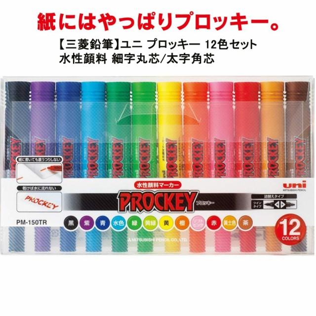 水性ペン 三菱鉛筆 ユニ プロッキー セット PM-150TR12CN 水性ペン 細字丸芯/太字角芯 12色セット 09623