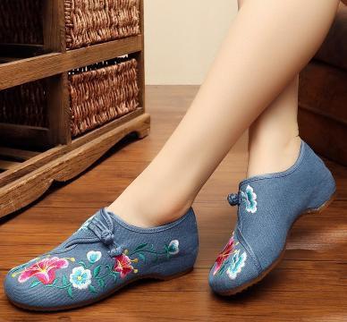 レディースシューズ チャイナ靴 北京布靴 ローヒール チャイナシューズカジュアル 太極拳靴刺繍 ミュール スリッパ アサガオ図案