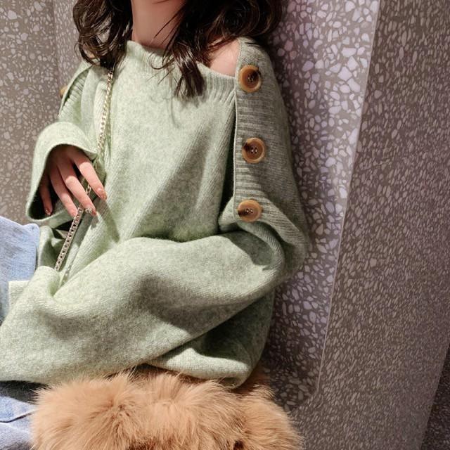 秋 新作 秋 冬 セーター ニット ボタン オフショルダー シンプル 無地 デート きれいめ 長袖 ゆったり トップス