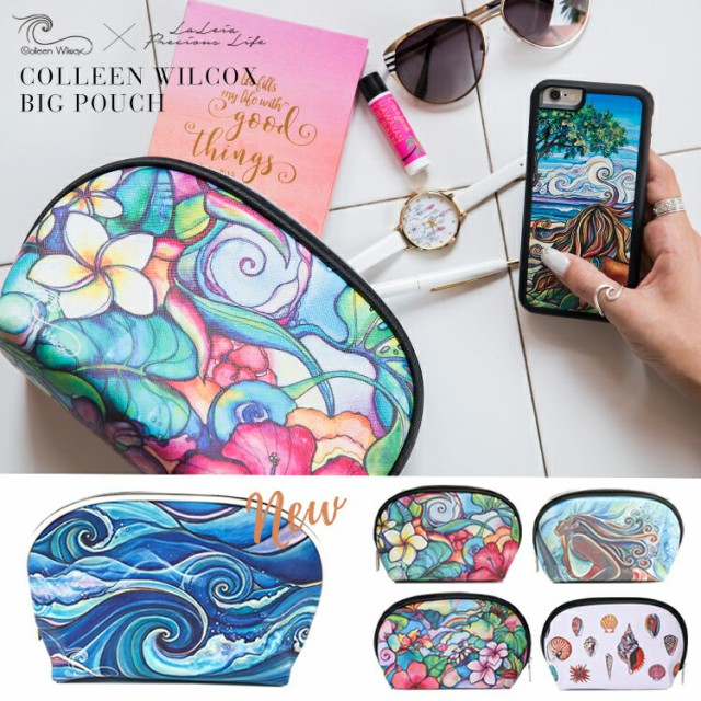 コリーン ウィルコックス Colleen Wilcox ビッグポーチ 化粧ポーチ 合皮 トラベルポーチ 小物入れ ハワイアン雑貨 おしゃれ かわいい 旅