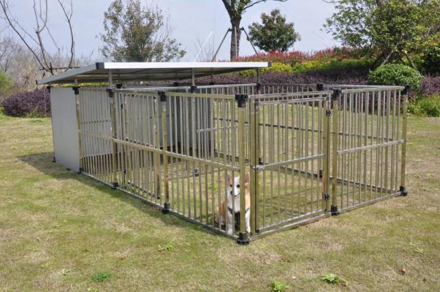 ドッグハウス DFS-M2 (1坪タイプ屋外用犬小屋)  +マルチサークルハウス DFS-C1中型犬  大型犬 【送料無料】ステンレス製