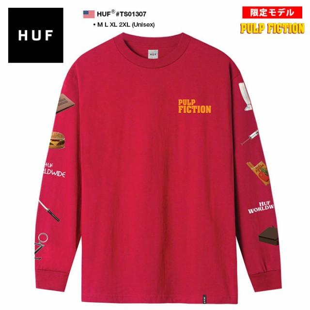ハフ HUF 映画 PULP FICTION パルプ・フィクション 限定 コラボ ロンT 長袖 メンズ 赤 M L XL 2L LL 2XL 3L XXL 大きいサイズ b系 スケー