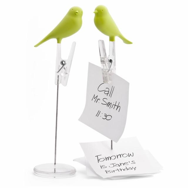 QUALY クオリー ノートスパロウ メモスタンド クリップ メモホルダー グリーン 緑 おしゃれ かわいい 鳥 小鳥 とり トリ