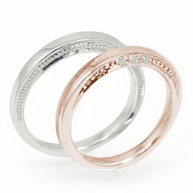 ccb2495e2d ダイヤモンド ペアリング マリッジリング 2本セット 誕生石 結婚指輪 ホワイトゴールド ピンクゴールド 10金 メンズ セット価格 指輪  ダイヤモンド マリッジリング ...