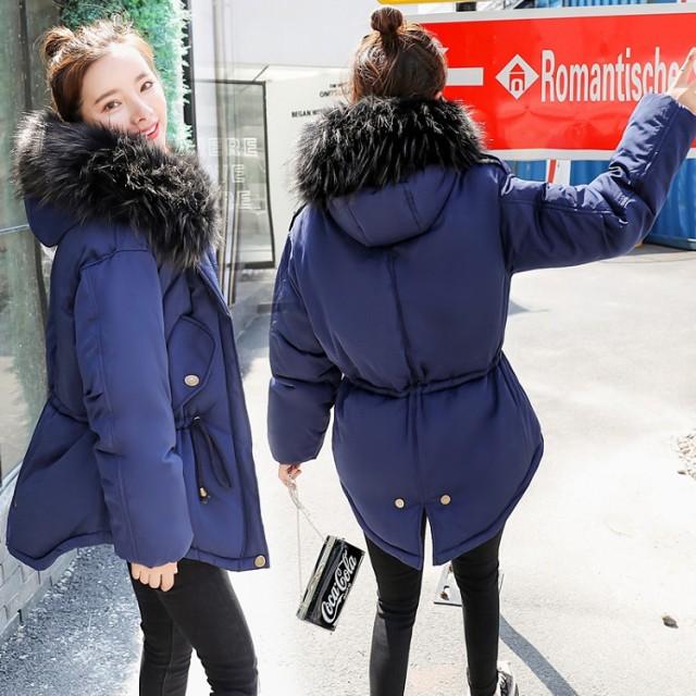f8eabaefa86e8 レディース 冬 ダウンコート ショート丈 チュニック 中綿コート ダウンジャケット ファー襟 フード付き 中綿