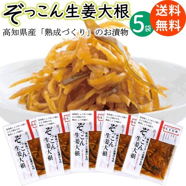 高知産 無添加 熟成きざみ 醤油漬け ぞっこん 生姜大根 とさ日和 80g×5袋 送料無料 メール便