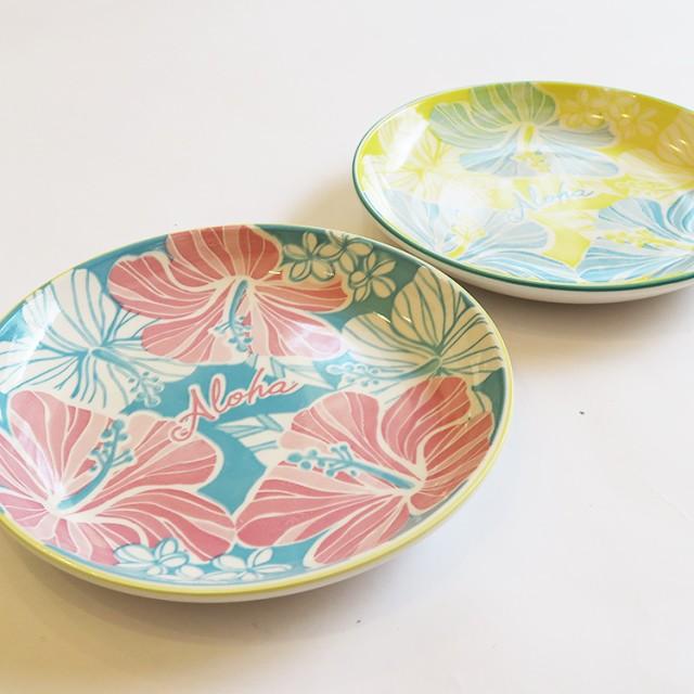 ハワイアン お皿 食器 中皿 小皿 ハイビスカス柄 花 かわいい ハワイ キッチン 雑貨 ブルー イエロー