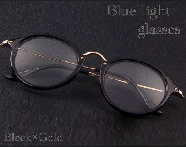 ボストン メガネ ブルーライトカット 伊達眼鏡 丸型 オシャレサングラス PCメガネ UVカット ファッション眼鏡 ブラックゴールド