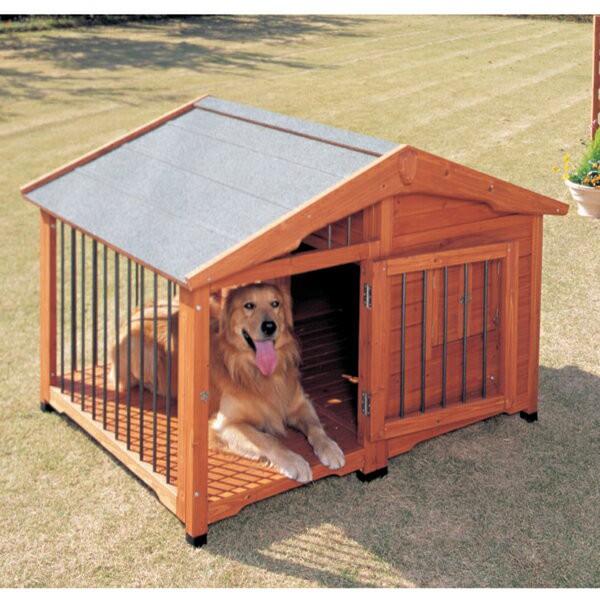 犬小屋 サークル犬舎 CL-1400 ブラウン 送料無料 大型犬 木製 犬舎 屋外 室外 野外 庭用 外飼