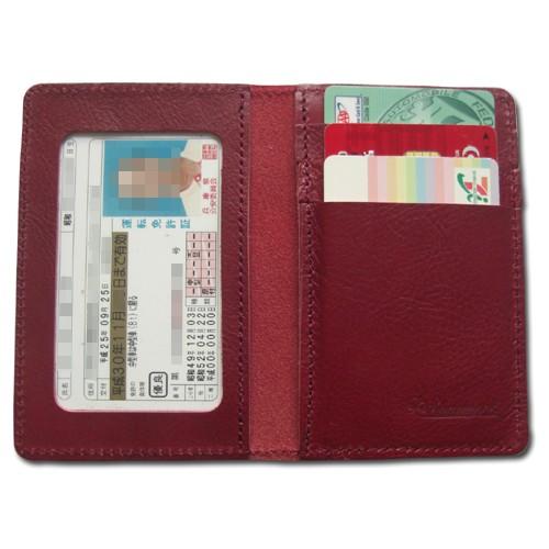 【日本製】牛革.本革.二つ折り定期.免許証入れ.カードケース(ワインローズ)