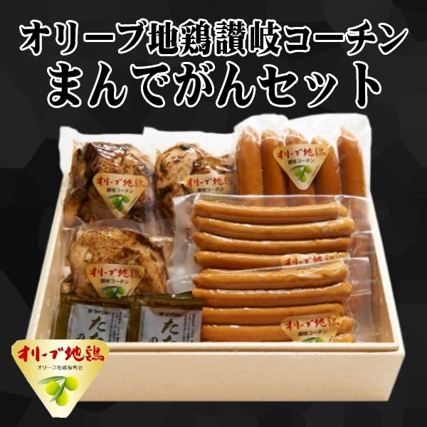 【送料無料】 鶏肉 オリーブ地鶏 讃岐コーチン 香川県 まんでがんセット 約1.5kg タタキ ウィンナー フランク タレ付き 生 冷凍 ギフト