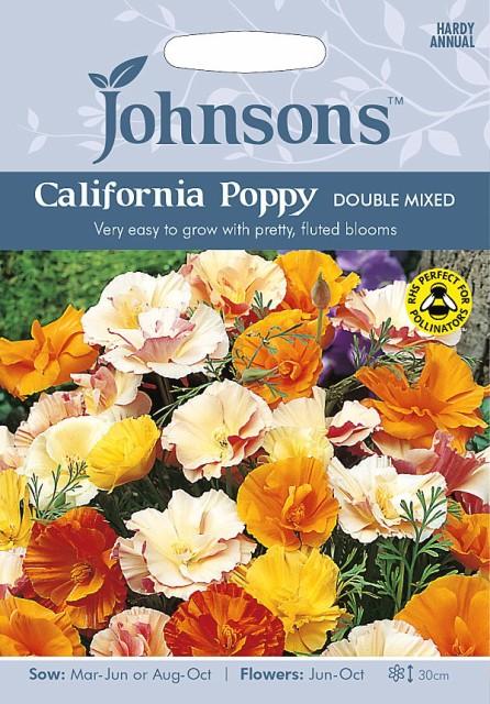 【輸入種子】Johnsons Seeds Californian Poppy(Eschscholzia)Double Mixed カリフォルニアポピー(エスコルシア)ダブル・ミックス ジ